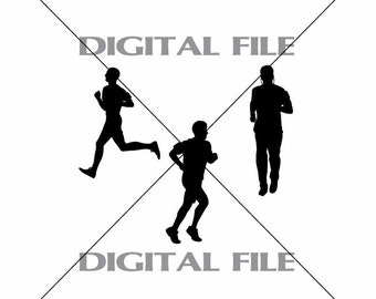 Three Men Joggers Runners Vector Images Vinyl Decal T-shirt Digital Cutting Files ,Svg File, Ai, Eps, PNG