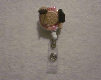 Ice Cream Cookie Bling ID Reel Badge Holder