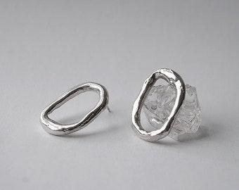 medium ghost stud earrings - sterling silver or bronze