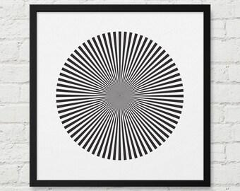 Geometric Poster, Black and White, Optical Illusion Art, Bridget Riley Art, Optical Wall Art, Retro Pop Art, Abstract Decor, Abstract Art