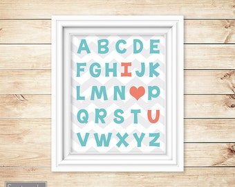 Aqua Coral Nursery Wall Art Alphabet I love You Heart ABC's Girl's Chevron Printable 11x14 Digital JPG Instant Download (23-ac)