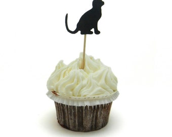 Black Cat Cupcake Toppers 12 Pack Cat Party Decor Cat Decorations Cupcake Topper Party Decoration Black Cat Decor Cupcake Party Decorations