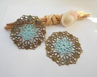 x 4 prints bronze 3.5 cm turquoise enameled flower