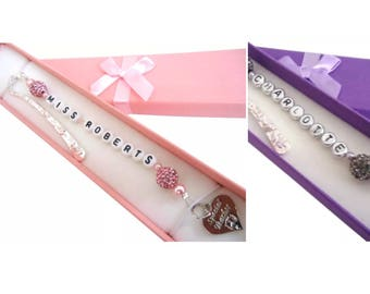 Personalised Handmade Bookmark with Gift Box. Teacher's Gift.