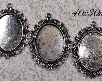 40x30mm Antique Silver Setting - Old World Lace - 3 pcs : sku 08.02.13.3 - V18
