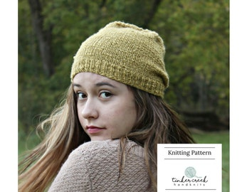 Hipster Beanie Hat Knitting Pattern, Knitting Patterns, Knitted Hat Pattern, Knitting Pattern Hat, Hipster Beanie Hats