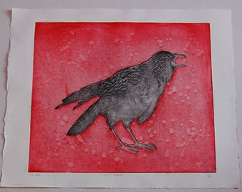 City Crow with Red Background