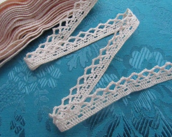2 yards of a soft salmon pink vintage lace trim