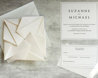 Pale Ivory Origami Wedding Invitation Suite - RSVP, Envelope, Details and Reception Cards - Handmade Origami Invitation SAMPLE