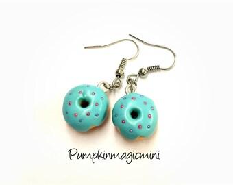 Blue Donut earrings, food jewelry, kawaii donuts, polymer clay, handmade