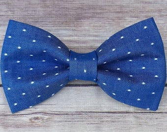 Blue Dog Bow Tie / Chambray Dog Bow Tie / Polka Dot Cat Bow Tie /  Bow Tie  / Collar Bow Tie / Boy Dog Bow Tie / Pet BowTie / Dog Gift