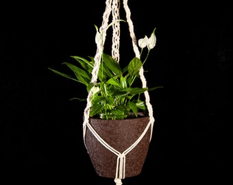 Knotted Plant Hanger || Zigzag Macrame Pot Planter || Cotton Outdoor / Indoor Pot Plant Holder || McrmUA
