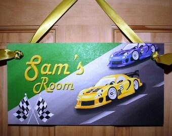 Kids Bedroom Racing Race Cars DOOR SIGN Wall Art Decor DS0077