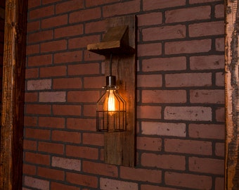 Industrial lighting, Industrial Chandelier, Black With Reclaimed Wood and 1 Pendants. R-SCONCE-BC-1