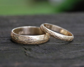 The Natural Tree Vine 14kt Yellow Gold Wedding band set