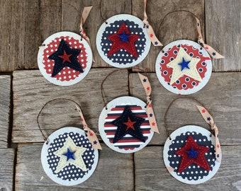 AGD Patriotic Decor - Felt Star Tin Ornaments 6pc Set