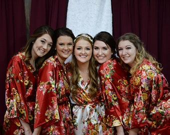 Set of 5 Silk Bridesmaid Robes, Bridesmaid Gift, Satin Bridesmaids Robes, Kimono Robes, Bridal Party Robes, Wedding Robe, Bridesmaids Robes