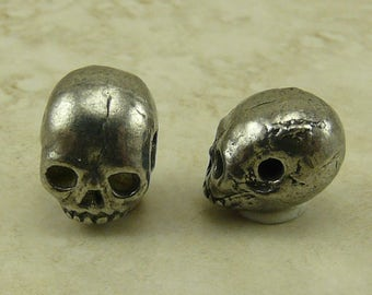 Small Skull Green Girl Bead - Halloween Goth Scary Day of the Dead Death Skeleton Head - American Artist Made Lead Free Pewter Silver 521