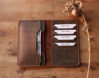 PERSONALIZED Leather Passport Wallet, Leather Travel Wallet, Passport Wallet, Distressed Leather Passport Holder, Passport case