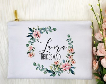 Personalized Makeup Bag, Bridesmaids Gift, Makeup Bag, Canvas Bag, Tote With Zipper, Makeup Tote, Cosmetic Bag, Maid of Honor Gift