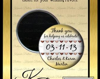 "Rustic Wedding Favors, Wedding Magnet Souvenir,  2.25"" Custom Wedding Magnet, Wedding Keepsake, Refrigerator Magnet,"