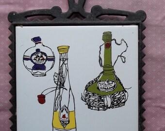 Wine Spirits Cast Iron Tile Trivet FM Japan Hot Plate Vintage Bottles