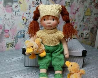 Marusya 16'' OOAK fiber art doll, Waldorf Inspired doll, Soft Sculptured Doll, Handmade Cloth Doll