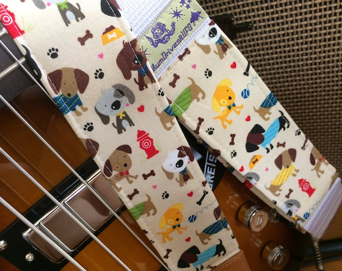 Dog guitar strap // colourful dogs walking in the park // unique gift guitar accessory // suits acoustic, electric, bass guitar