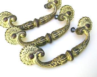 Shabby Chic Handles - Vintage Brass Handles - Vintage Drawer Pulls - Chippy Paint - 3 Inch - Vintage Hardware - Ornate Hardware