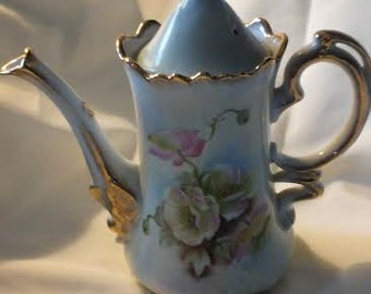 Lefton China Green Heritage Roses Coffee Pot, (# 1072/70)