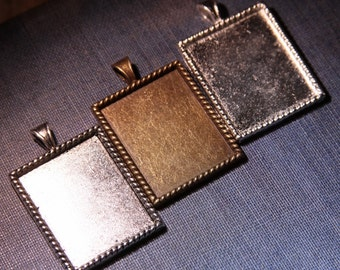 4 Braided Edged Rectangle Pendant Trays - Bridal bouquet Memory Photos Charms - Blank Bezel Settings 22 x 27 x 2 mm - LEAD FREE