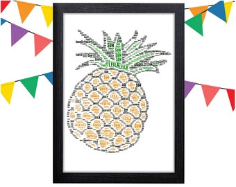Personalized Gift Pineapple Gifts Party Gift Wall Art Wall Prints Wall Art Wall Decor Personalised Gift Wall Art Prints Birthday Celebration