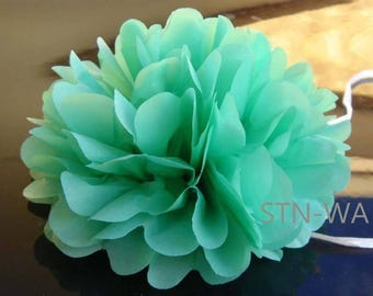 12x Dark mint mini tissue paper pom pom | Wedding Baby shower Party Engagement Bridal Shower Table Centerpiece Decoration