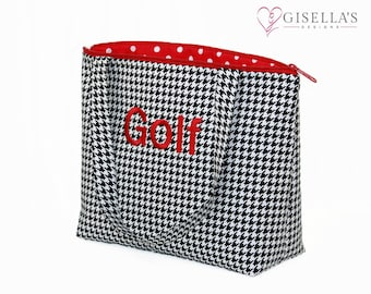 Personalized black Houndstooth golf tote bag, Monogram everyday tote handbag, Women birthday gift, Customized golf gifts for women