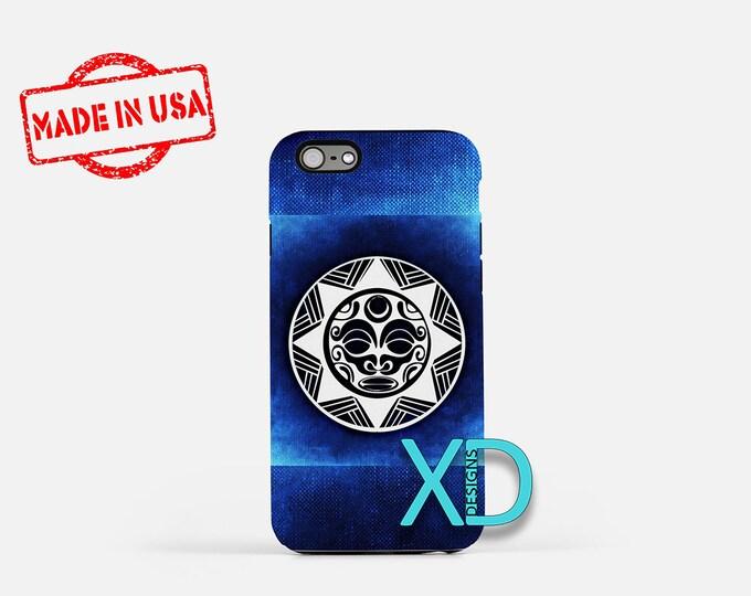 Blue Aztec Sun iPhone Case, Sun iPhone Case, Aztec Sun iPhone 8 Case, iPhone 6s Case, iPhone 7 Case, Phone Case, iPhone X Case, SE Case