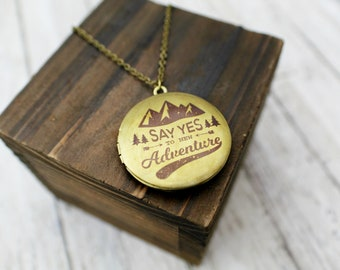 Say Yes To New Adventure Handcrafted Brass Locket Necklace with Mountain Design
