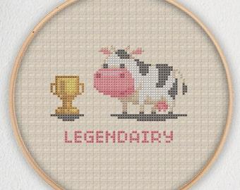 Legendairy Cow Cross Stitch Pattern - Instant Download PDF