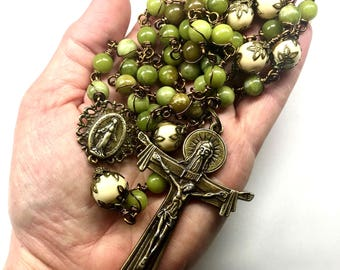 Catholic 5 Decade Rosary, Unbreakable Rosary, Heirloom Rosaries, Olive Green Jade, Bronze Crucifix & Our Lady Center, Faith, Prayer Beads