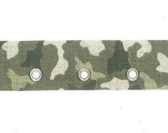 Ribbon band eyelets khaki green camouflage by 10 cm