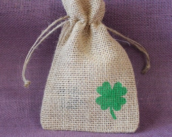 "burlap favor. St. Patrick's Day Small burlap bag. Shamrock burlap 4"" x 6"" sack.  St. Patrick's Day Favor.  Lucky bags."