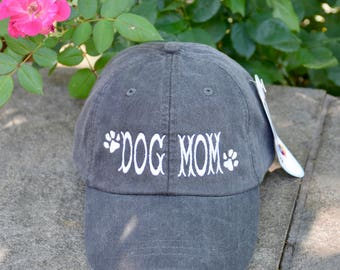 Dog Mom Baseball Cap with Paw Prints    Custom Personalized Gift by Three Spoiled Dogs     Made in USA