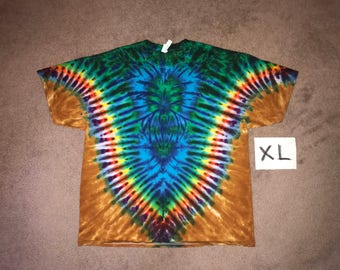 Tie Dye T-Shirt ~ Fire /Palomino Gold V with aqua Spider i-8274 Adult XL