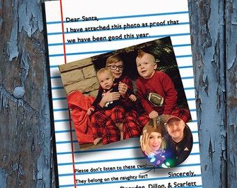 Christmas Photo Card - Merry Christmas - Dear Santa - Funny Christmas card -  holiday card - DIY PRINTABLE