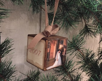 Our First Christmas - Wedding/ Anniversary photo block ornament