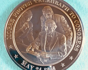 Franklin Mint Medal History of United States Morse Proves Telegraph to Congress , 1844  44mm Bronze Mint Cond<>#PSY-15