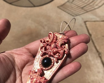 Polymer Clay baroque victorian goth coffin pendant necklace