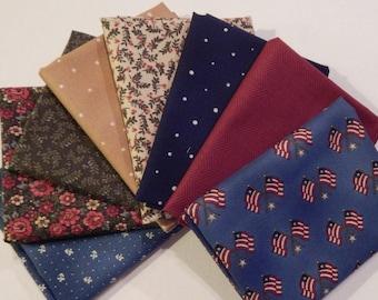 NEW Liberty Hill Quilt Fabric 100% Cotton Americana  8 Coordinating Fat Quarters  Blue  Bundle
