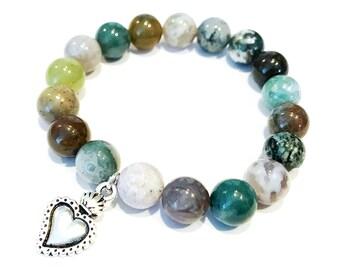 sacred heart bracelet, milagro sacred heart, milagro jewelry, heart charm bracelet, beaded bracelets for women, large stone bracelet, jasper