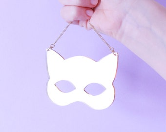 Gold cat necklace. gold jewelry. cat jewelry. gift for her. cat lover gifts. necklaces for women. black jewelry