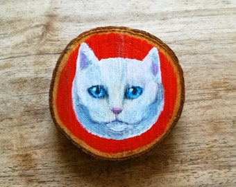 White Cat Painted Wooden Wall Hanging